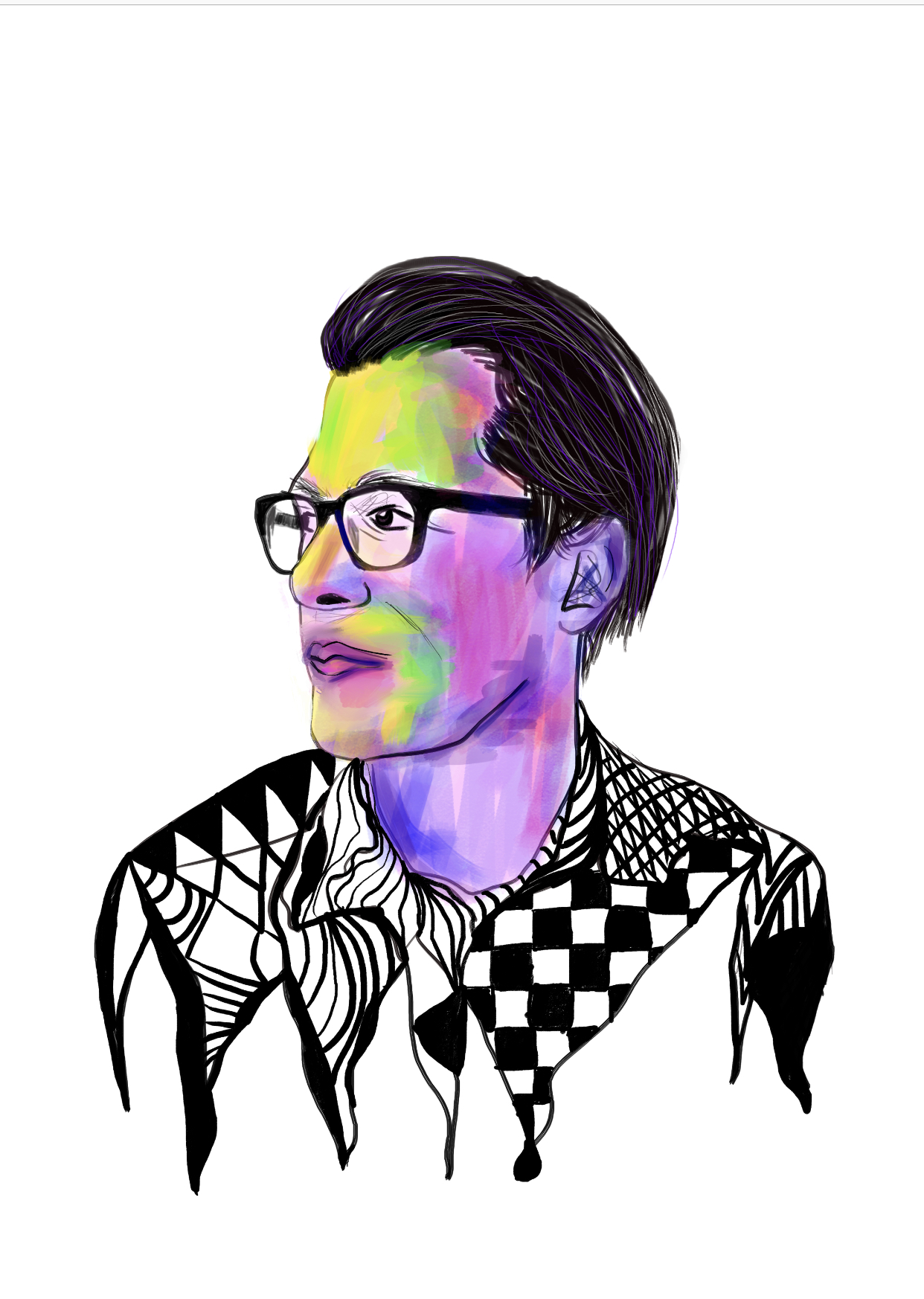 Colorful-Digital-Art-Man-Drawing-Man-Looking-to-Side